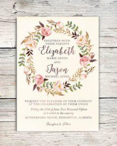 Rustic floral invite