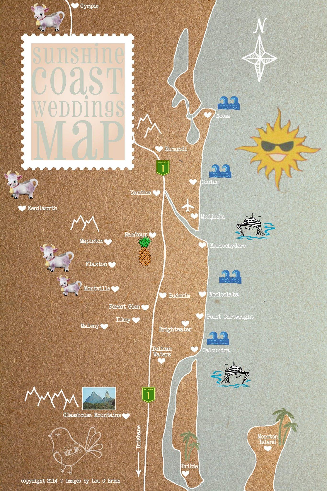 Images By Lou O'Brien Wedding Map- Plan My Wedding Sunshine Coast